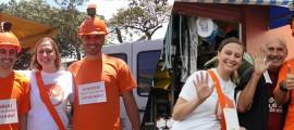 Montagem da ação do Grupo Four Midia em feiras livres para a campanha Sorria, Você Está Sendo Admirado, do Hospital da Face