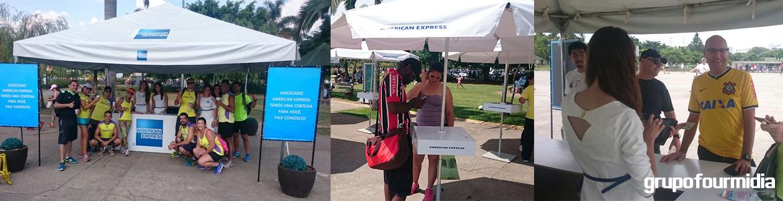 Montagem da Ativação da American Express no Parque Villa-Lobos realizada pelo Grupo Four Midia