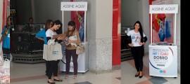 Montagem da ativação realizada pelo Grupo Four Midia para a campanha Multivantagens da NET e Claro com stand nos hipermercados Extra e Carrefour