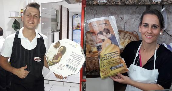 Caixa de Pizza e Saco de Pão do Grupo Four Midia para campanha da Gás Natural Fenosa em Teresópolis, RJ